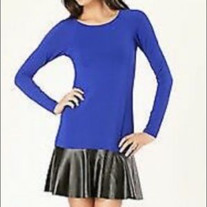 Hale Bob Blue Knit & Black Leather Peplum Dress